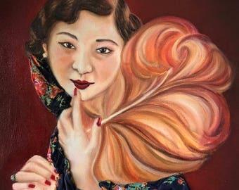 1920s Shanghai Girl - Fabric and Oil on Canvas