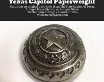 Antique Brass Texas Capitol Door Paperweight
