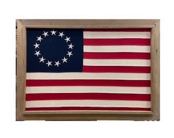 Light 2 x 3 Barnwood Framed Betsy Ross flag. ITEM# BFROSS
