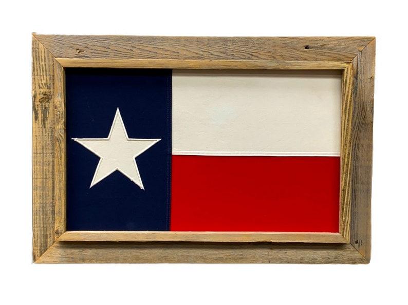 Light 20 x 28 Barnwood Framed Texas Flag Cotton image 0