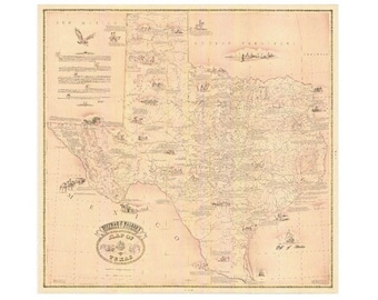 Vintage Reprint Texas Map Hoffman and Walker's Historical, Pictorial Map of Texas