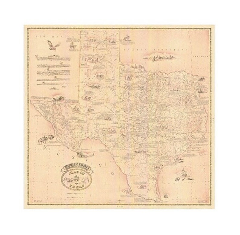 Vintage Reprint Texas Map Hoffman and Walkers Historical image 0