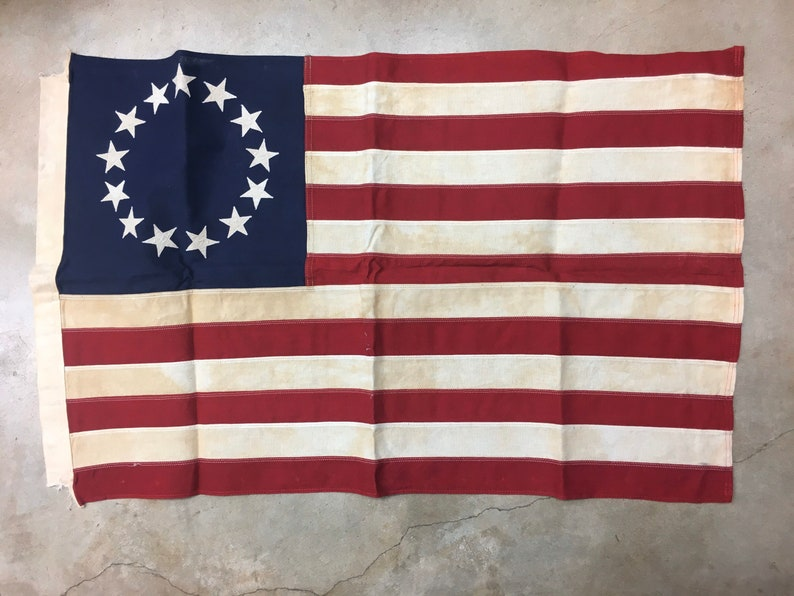 Tea Stained Antiqued 13 Star USA flag NO-RETURN image 0