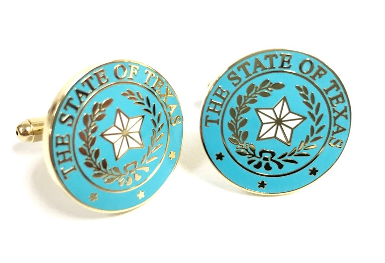 Texas State Seal Cuff Link Light Blue & Gold image 0