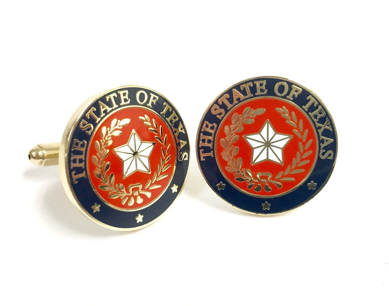 Texas State Seal Cuff Link Red White Navy image 0