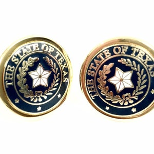 Texas State Seal Cuff Link Light Blue /& Gold