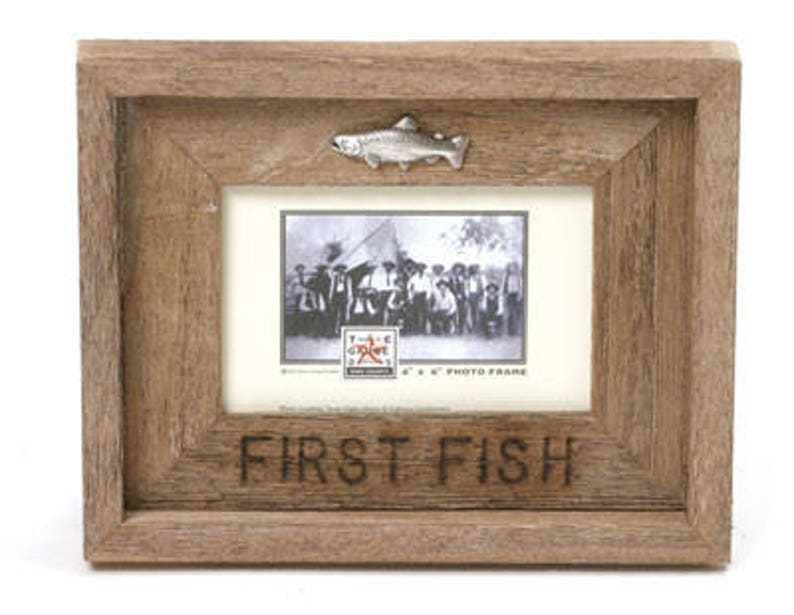 Barn Wood Rustic Picture Frame First Fish. Choose your size image 0