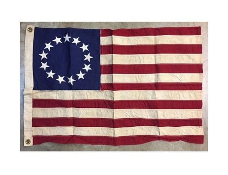Betsy Ross Flag 3 x 5 Foot Tea Stained Cotton 1776 American image 0