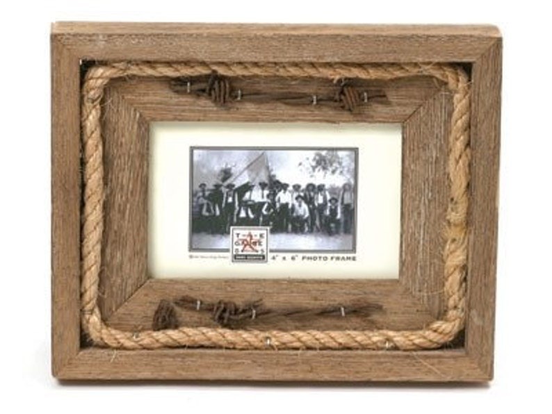 Barn Wood Rustic Picture Frame Rope & Barbed Wire. Choose your image 0