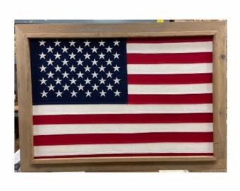 Light 2 x 3 Barnwood Framed American USA 50 Star Flag. ITEM#BFUSA50