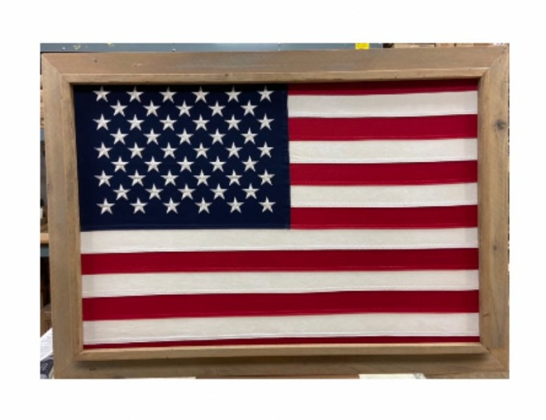 Light 2 x 3 Barnwood Framed American USA 50 Star Flag. image 0