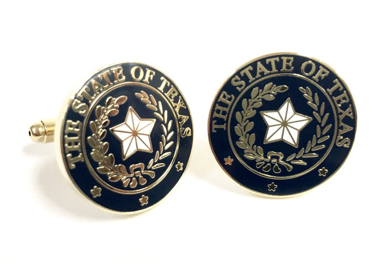 Texas State Seal Cuff Link Navy & Gold image 0