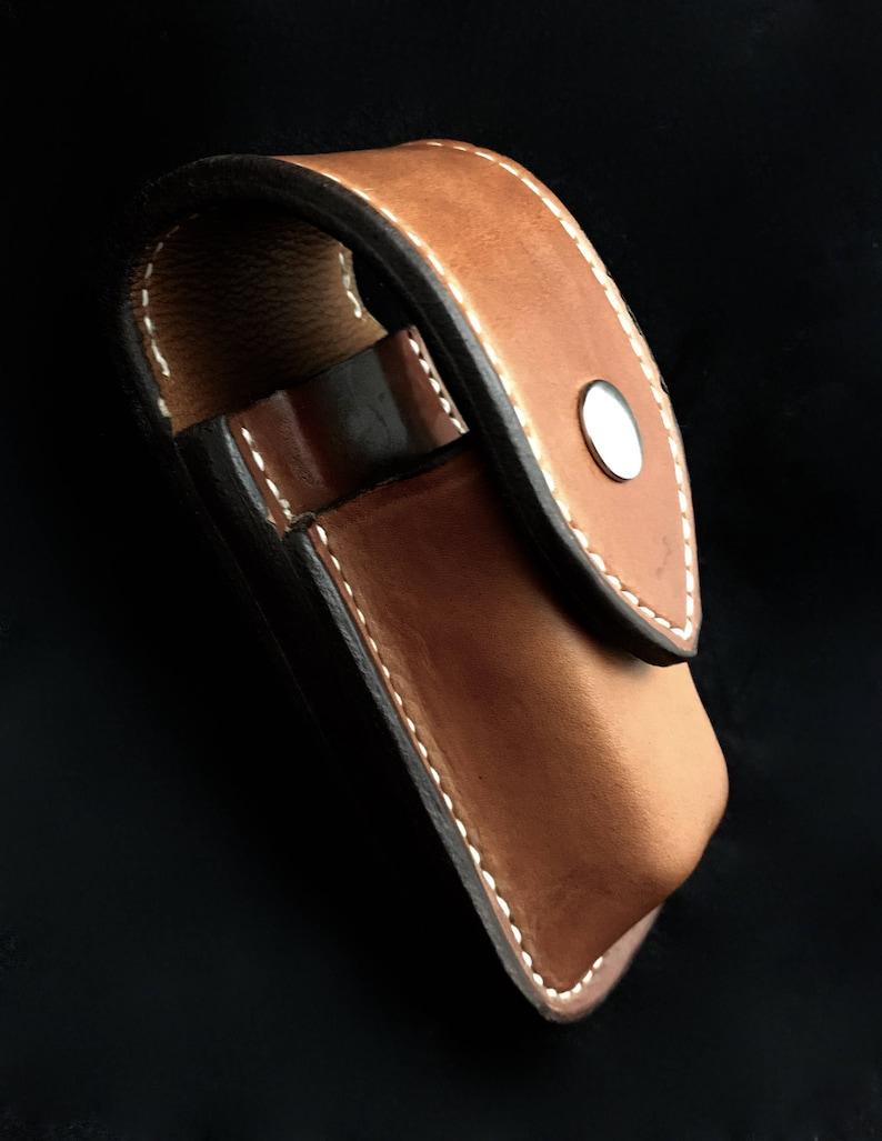 Custom Leather Sheath for WaveChargeSurge with extra pocket image 0