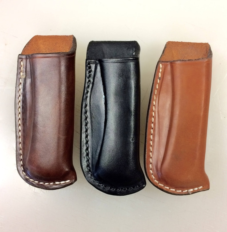 Open Top Leather Sheath for a Folding Knife image 0