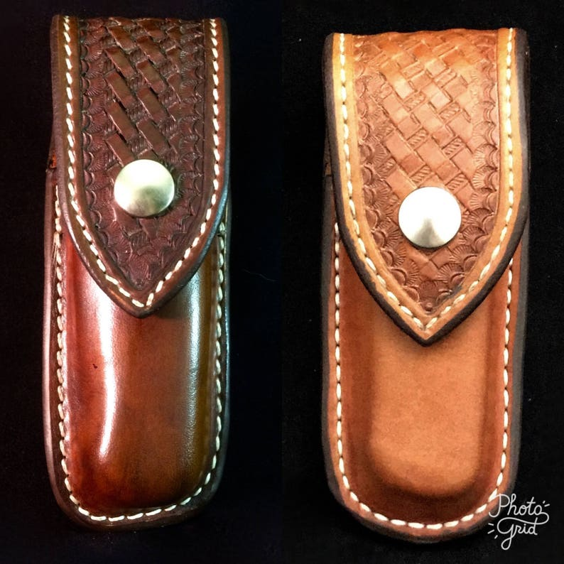 Custom Leather Closed Top Sheath for a Folding Knife image 0