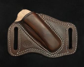 Cross Draw Left Side Carry Open Top Sheath for a Folding Knife
