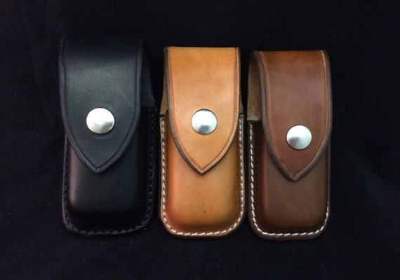 Horizontal Carry Custom Leather Sheath for the Leatherman Surge//Supertool Black