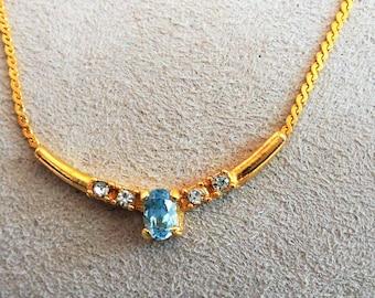 Vintage Gold Tone Aquamarine Necklace