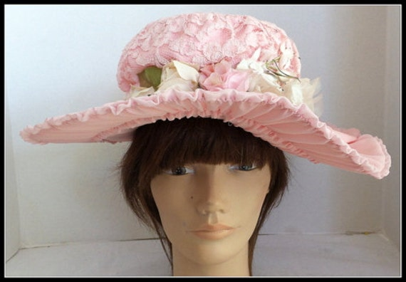 Vintage Hand Made  Pink Picture Retro Hat