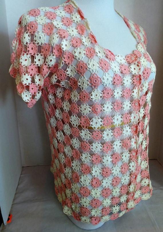 Hand Crochet Blouse Vintage  1940s