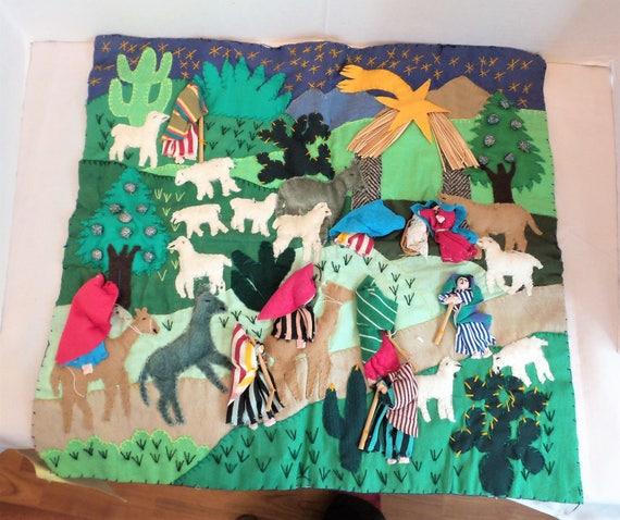 Arpillera Peruvian Christmas 3 D Wall Hanging Art Etsy