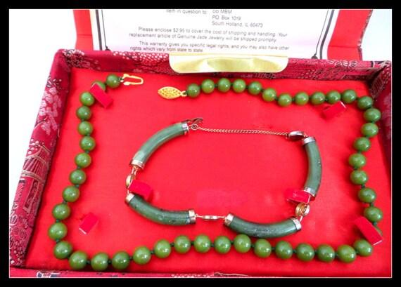 Vintage Jade Dynasty Necklace and Bracelet