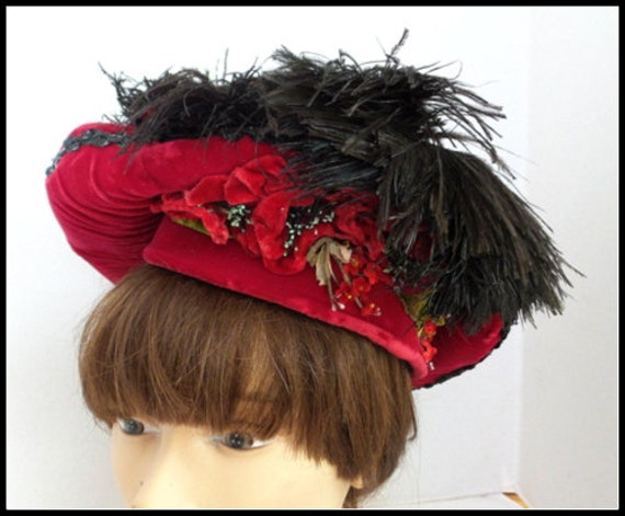 Vintgae Red Velvet Hat with Ostrich  Feathers, Seq
