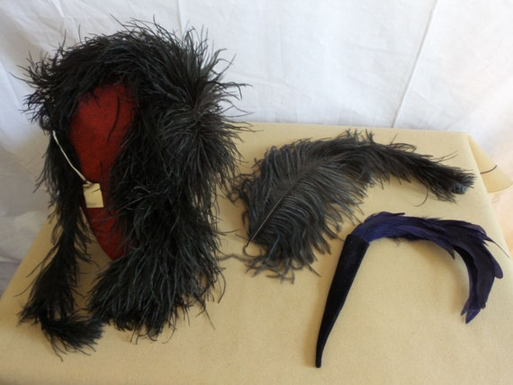 Black Ostrich Feather Collar and Single Feathers
