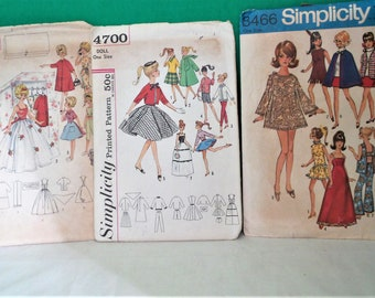 Simplicity Barbie Doll Patterns # 4883, #4700, #8466