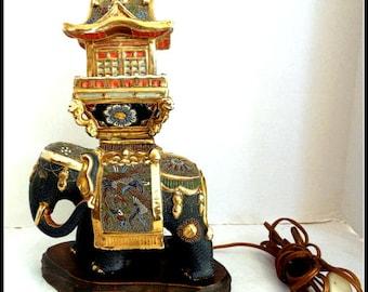 Vintage Elephant Asian Lamp
