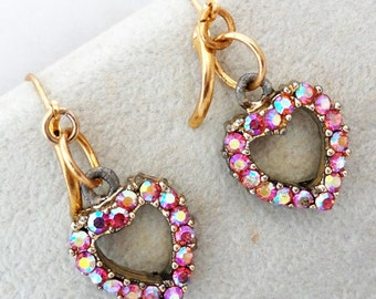 Vintage Reversible Pink Rhinestone and Pearl Earrings