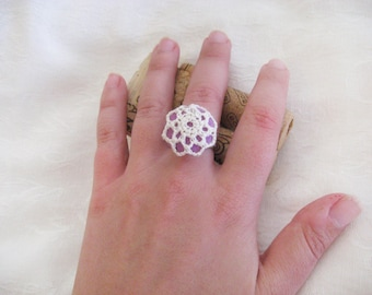 Crochet Button ring - Felt button crochet covering adjustable silverplated ring