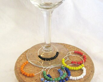 Color Block Glass Bead Wine Charms - color block beads on sturdy wine charm loop