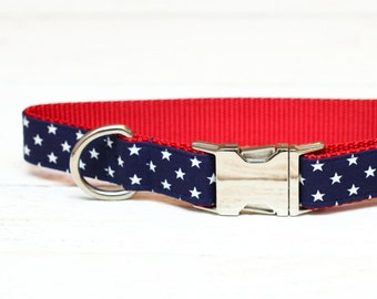 4th of July Dog Collar, America, USA, Navy Stars, Blue, White, Patriotic, Fourth of July, Metallic, Pet Collar with Metal Buckle
