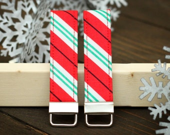 Christmas Keychain Fabric Loop Key Chain - Red and Green Peppermint Stripe Key Fob