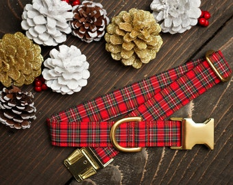Plaid Dog Collar, Christmas Dog Collar, Red Plaid Collar, Dog Lover Gift, Pet Collar, Dog Stocking Stuffer, Puppy Collar, Male Dog Collar