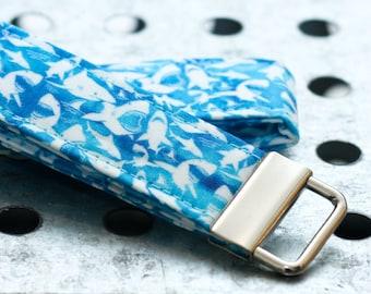 Shark Keychain Fabric Loop Key Chain - Blue, Turquoise, Watercolor, Ocean, Beach, Key Fob