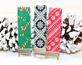 Christmas or Winter Fabric Loop Key Chain, featuring snowflakes & candy canes. Makes a great stocking stuffer, gift topper or key fob