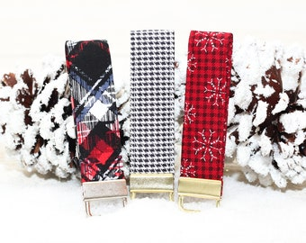 Christmas or Winter Fabric Loop Key Chain, featuring snowflakes & plaid. Makes a great stocking stuffer, gift topper or key fob