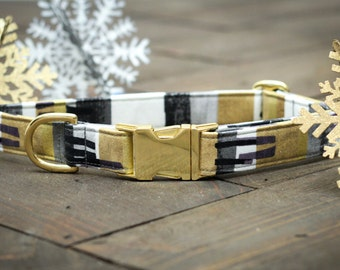 Silver and Gold Dog Collar - Valentines Dog Collar, Winter, Female, Male, Holiday, Metallic Gold, Pet Collar, Festive, Pets  - Metal Buckle