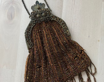 Antique Late Victorian crochet beaded bag