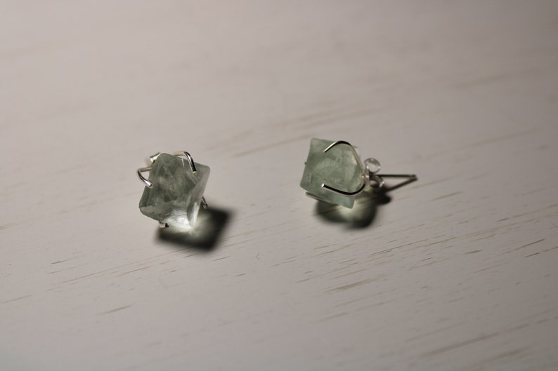 Earrings with Natural Stone  Free packaging gift for Christmas Handmade Sterling Silver Earrings with natural Rustic Fluorite gem