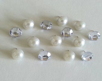 Épingles perle - strass clair Push Pins - décoratif Push Pins - jolie - Bling - perle punaises - strass Thumtacks - tableau en liège