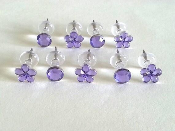 Violet Push Pins - Pins clair - jaune - strass épingles - bijou Pins - punaises décoratives - fleur Push Pins - cristal punaise - Bling