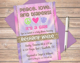 Peace love invite etsy tie dye invitation tie dye shower baby shower invites customize to match your party digital file only filmwisefo