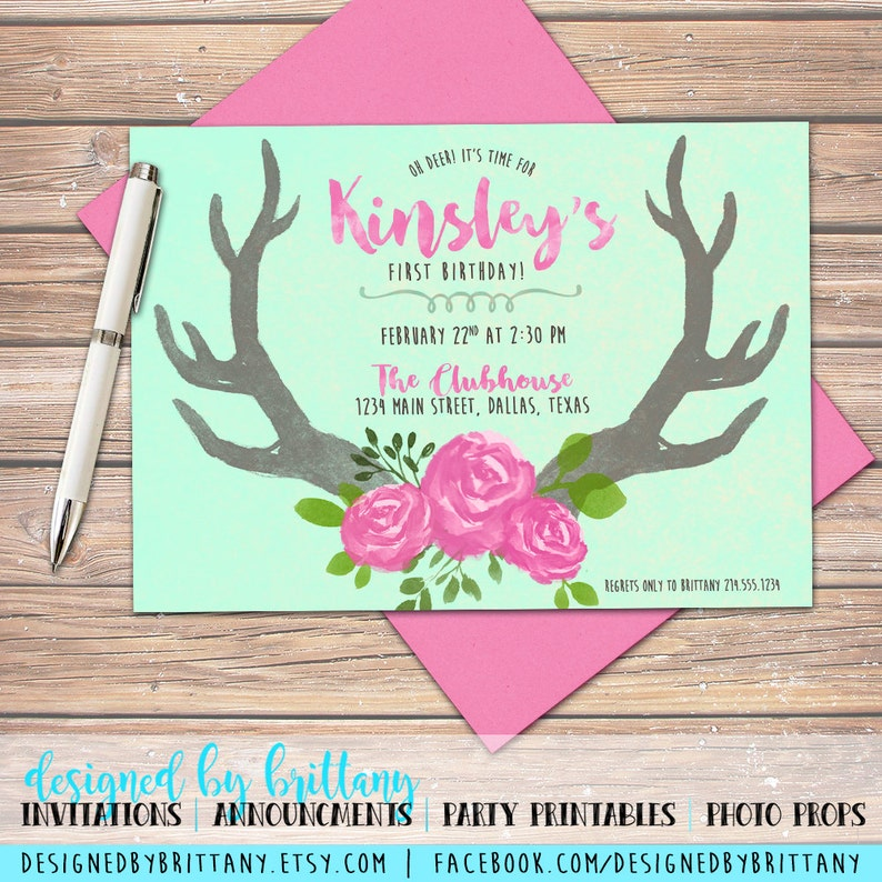 Oh Deer 2! Look who's turning one - Watercolor, Floral, Birthday Invitation  - Customize to match your party and age, digital file only!