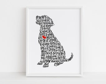 Personalized Pet Calligraphy Illustration // personalized gift // dog lover gift // cat lover gift