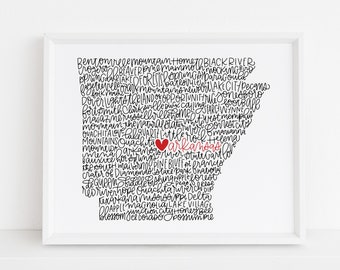 Arkansas Calligraphy Illustration Print // housewarming gift // hostess gift // bon voyage gift