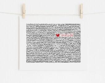 Colorado Calligraphy Illustration Print // housewarming gift // hostess gift // bon voyage gift