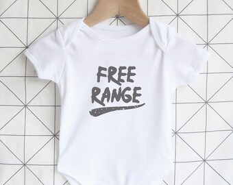 Free Range - Cute Baby Bodysuit, Unisex New Baby Onesie, Festival Baby Shirt, Shower Gift, Outdoors Slogan, Farm, Graphic Print One Piece